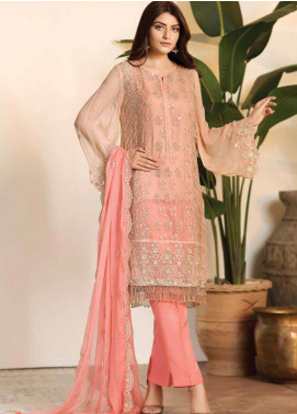 Noor Jahan Embroidered Chiffon Unstitched 3 Piece Suit NJ19W 06 - Wedding Collection