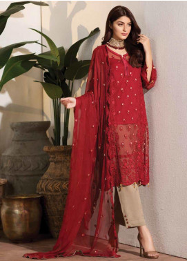 Noor Jahan Embroidered Chiffon Unstitched 3 Piece Suit NJ19W 08 - Wedding Collection