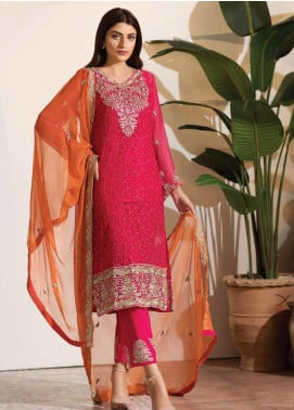 Noor Jahan Embroidered Chiffon Unstitched 3 Piece Suit NJ19W 10 - Wedding Collection