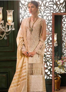 Noor By Saadia Asad Embroidered Chiffon Unstitched 3 Piece Suit NSA18W 05 Gul Bahar - Wedding Collection