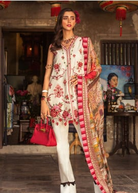Noor by Saadia Asad Embroidered Lawn Unstitched 3 Piece Suit NSA19L 7B - Spring / Summer Collection