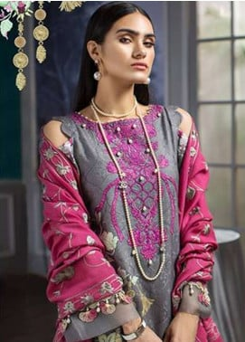 Noor By Saadia Asad Embroidered Linen Unstitched 3 Piece Suit NO18W 3 Floraison - Winter Shawl Collection