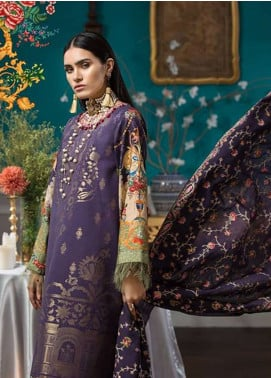Noor By Saadia Asad Embroidered Jacquard Unstitched 3 Piece Suit NO18W 9 Lamour - Winter Shawl Collection