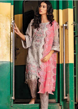 Noorma Kamal Embroidered Zari Net Unstitched 3 Piece Suit NK19F 06 FUSCHIA FLINT - Festive Collection