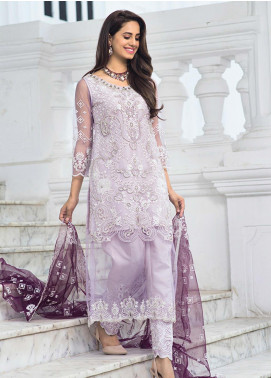 Noorma Kamal Embroidered Net Unstitched 3 Piece Suit NK19SW 07 Hellebore Lilac - Wedding Collection