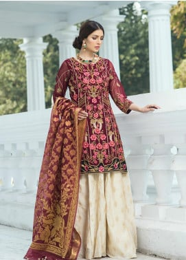Noorma Kamal Embroidered Chiffon Unstitched 3 Piece Suit NK19SW 10 Oriental Poppy - Wedding Collection