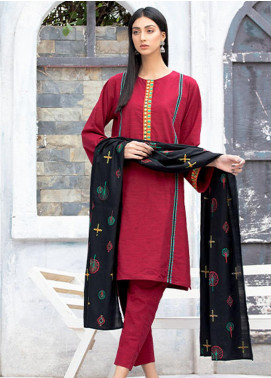Takhleek By Hijab Omer Embroidered Khaddar Stitched 3 Piece Suit TK20NR 21WDE3OP05