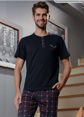 Cotton Net Nightwear for Men 2 Piece NS18M 0205 NAVY BLUE