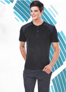 Cotton Net Nightwear for Men 2 Piece NS18M 5097 BLACK