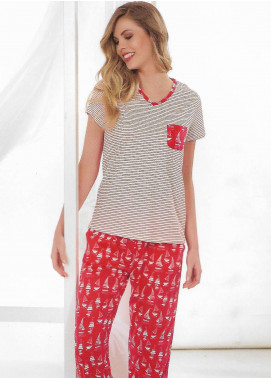 Cotton Net Nightwear for Women 2 Piece NS18W 10869 Red