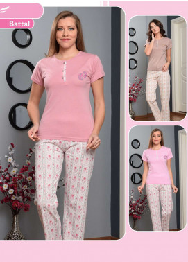 Cotton Net Nightwear for Women 2 Piece NS18W 0303 BROWN