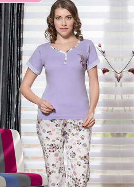 Cotton Net Women Nightwear 2 Piece NS18W 0306 PURPLE