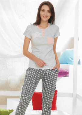 Cotton Net Women Nightwear 2 Piece NS18W 10647 GREY