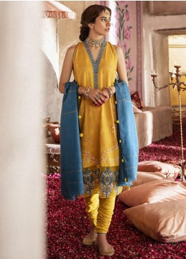 Nur Jahan by Cross Stitch Embroidered Khaddar Unstitched 3 Piece Suit CS20NJ 03 GOLD DAISY - Winter Collection