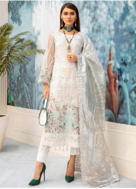 Nureh by Riaz Arts Embroidered Chiffon Unstitched 3 Piece Suit NRA20C 06 - Luxury Collection