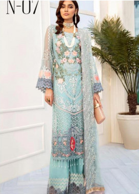 Nureh by Riaz Arts Embroidered Chiffon Unstitched 3 Piece Suit NRA20C 07 - Luxury Collection
