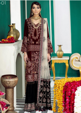 Nureh Embroidered Velvet Unstitched 3 Piece Suit N20WD 01 RUBY - Wedding Collection