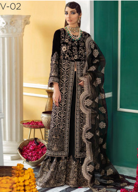 Nureh Embroidered Velvet Unstitched 3 Piece Suit N20WD 02 BLACK PEARL - Wedding Collection