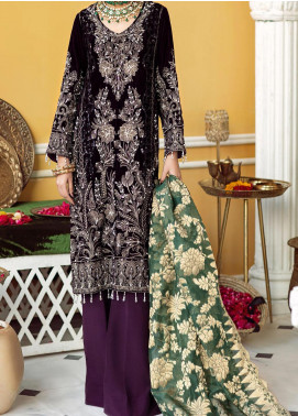 Nureh Embroidered Velvet Unstitched 3 Piece Suit N20WD 03 PRUPLE DIAMOND - Wedding Collection