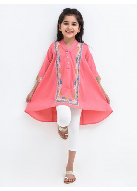Ochre Cotton Embroidered Top for Girls -  OCT 06 Peach