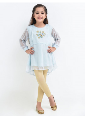 Ochre Chiffon  Western Top for Girls -  OFK 682 Tiffany Blue