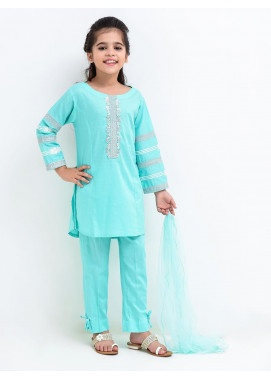 Ochre Cotton Embroidered Girls 3 Piece Suit -  OFK 691 Sea Green