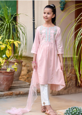 Ochre Cotton Embroidered 3 Piece Suit for Girls -  OFK 709