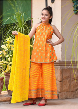 Ochre Cotton Printed 3 Piece Suit for Girls - OFK 710