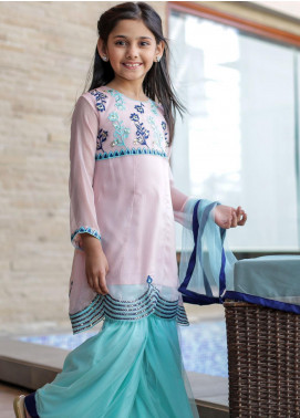 Ochre Chiffon Embroidered Girls 3 Piece Suit -  OFW 221