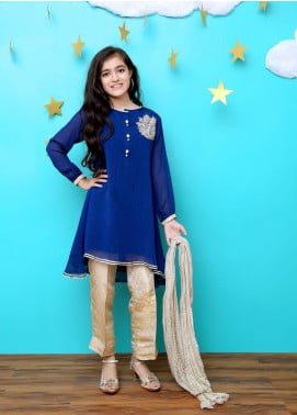 Ochre Chiffon Embroidered 3 Piece Suit for Girls - OFW 227
