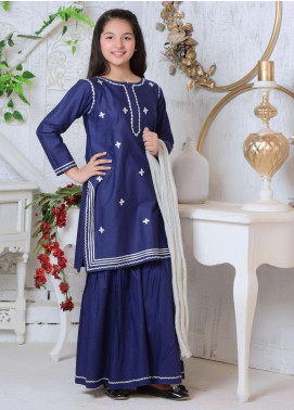 Ochre Cotton Formal 3 Piece Suit for Girls - OFW 228