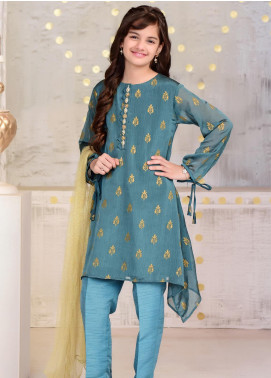 Ochre Chiffon Printed 3 Piece Suit for Girls - OFW 252