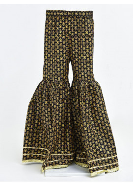 Ochre Cotton Printed Girls Gharara -  OGP 06 Black
