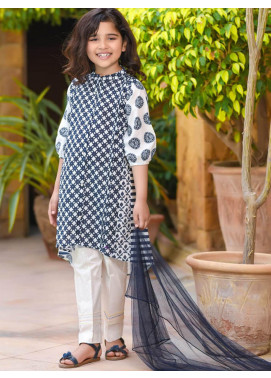 Ochre Lawn Printed 3 Piece for Girls - OPL 58 White