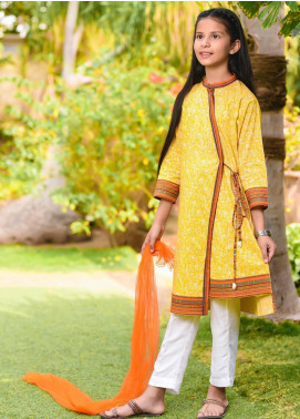 Ochre Lawn Embroidered 3 Piece Suit for Girls - OPL 68