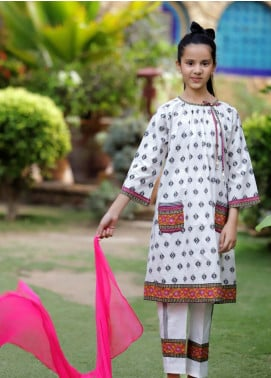 Ochre Lawn Embroidered Girls 3 Piece Suit -  OPL 69