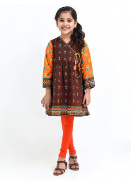 Ochre Lawn Printed Top for Girls - OPL 75 Brown