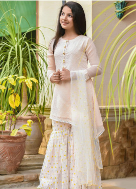 Ochre Chiffon Embroidered Girls 3 Piece Suit -  OFW 283 Light Pink