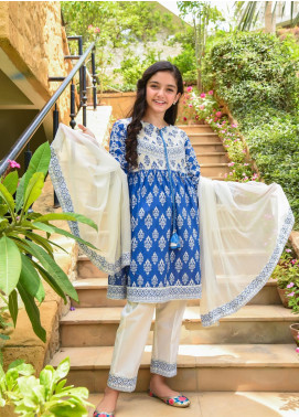 Ochre Lawn Embroidered Girls 3 Piece Suit -  OPL 77 Blue
