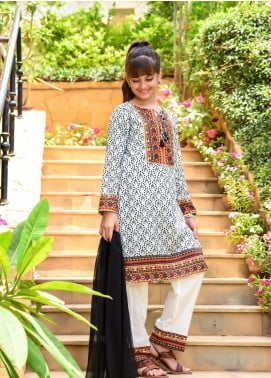 Ochre Lawn Embroidered 3 Piece Suit for Girls -  OPL 78 White
