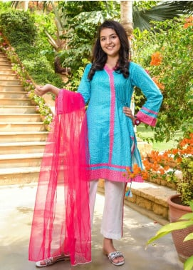 Ochre Lawn Embroidered Girls 3 Piece Suit -  OPL 79 Sky Blue