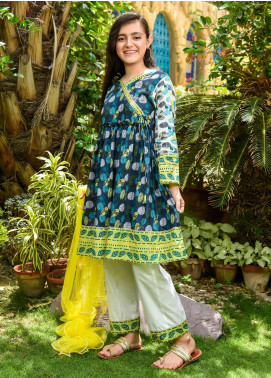 Ochre Lawn Embroidered 3 Piece Suit for Girls -  OPL 80 Blue