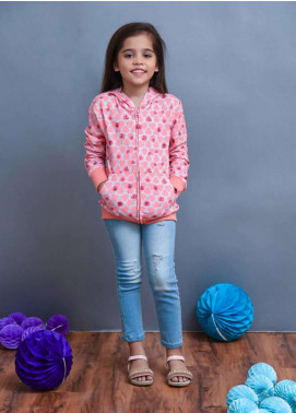 Ochre Fleece Printed Girls Hoodies - Coral OKH 03
