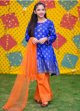 Ochre Cambric Fancy Girls 3 Piece Suits -  OFK 731 Royal Blue