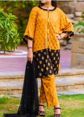 Ochre Linen Fancy Girls 3 Piece Suit -  OFK 722 Mustard
