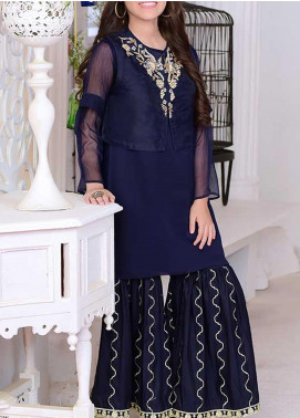 Ochre Organza Fancy 2 Piece Suit for Girls -  OFW 269 Navy