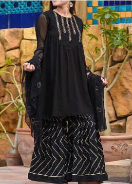 Ochre Chiffon Fancy 3 Piece Suit for Girls -  OFW 287 Black
