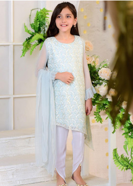 Ochre Chiffon Casual Girls 3 Piece Suit -  OFW 251 Tiffany Blue