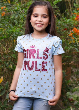 Ochre Cotton Casual T-Shirts for Girls -  OGK 31 Sky Blue