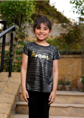 Ochre Cotton Printed T-Shirts for Girls -  OGK 43 Black
